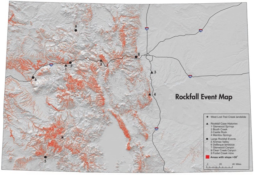 The Colorado Geological Survey S Rockfall Event Map Identifies Locations Of Historic Rockfall Events Along